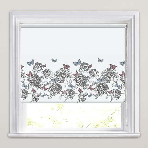 Scenic Butterflies Amp Flowers Border Patterned Roller Blinds