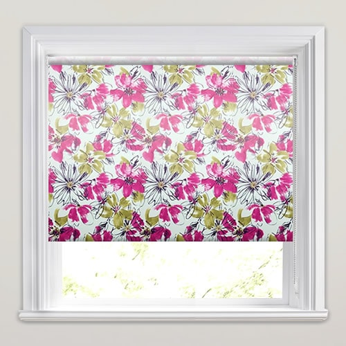 White Pink Amp Green Floral Patterned Waterproof Bathroom