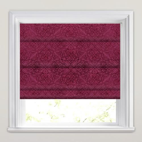 Shimmering Fuchsia Velour Textured Damask Pattern Roman Blinds