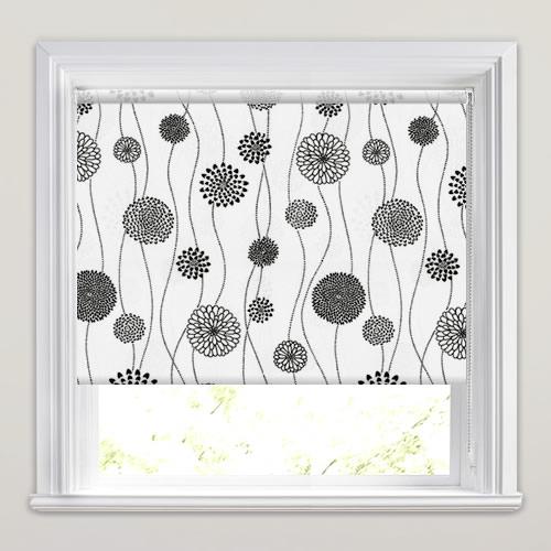 Modern Funky Flowers Black Amp White Patterned Roller Blinds