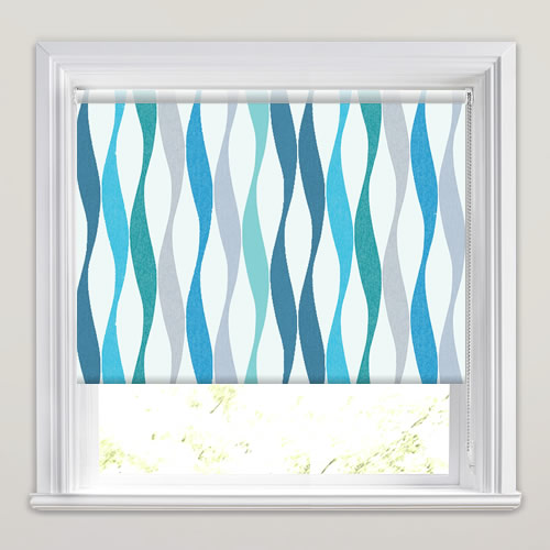 Stylish Modern Wavy Striped Roller Blinds In Green Blue