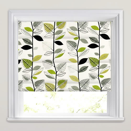 Autumn Leaves Lime Roman Blind