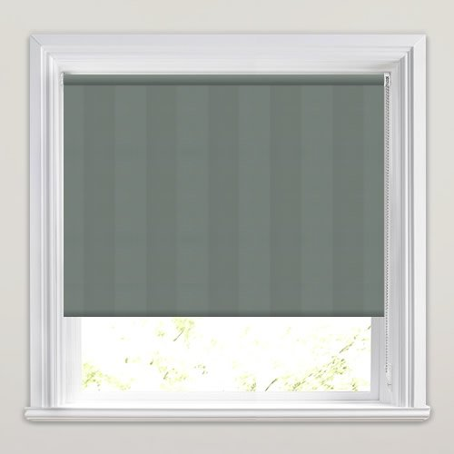 Broad Green Striped Blackout Roller Blinds Thermally