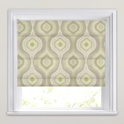 Lime Sage Olive Green Amp Silver Retro Patterned Roman Blinds