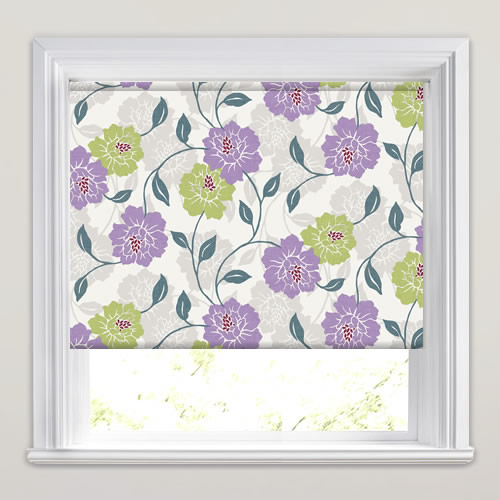 Green Violet Purple Amp White Large Flowers Patterned