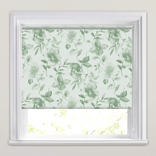 Classic Large Floral Patterned Roller Blinds In Green Amp White