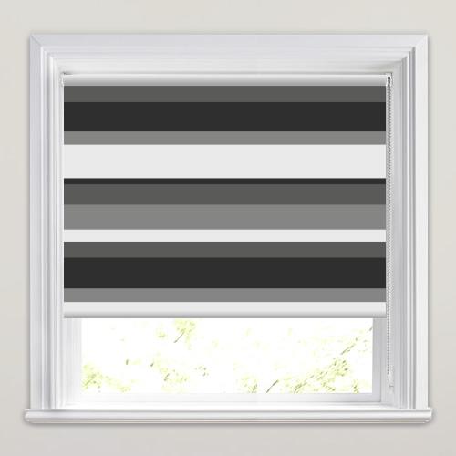 Luxury Grey Black Amp White Striped Blackout Roller Blinds