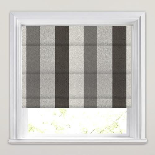 dramatic charcoal light dark grey striped roman blinds. Black Bedroom Furniture Sets. Home Design Ideas