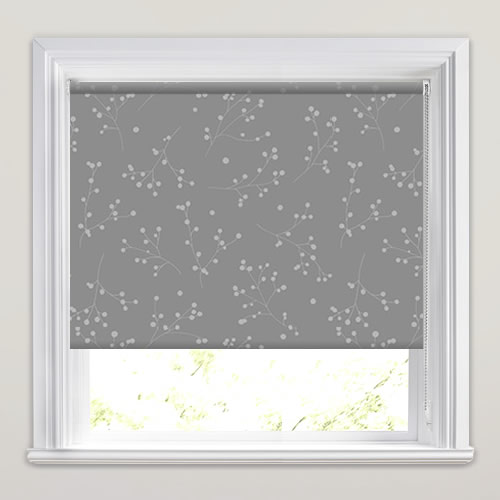 Grey Amp Embossed Metallic Silver Berry Patterned Roller Blinds