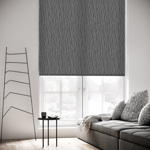 Metallic Reed Patterned Roller Blinds In Silver Amp Charcoal