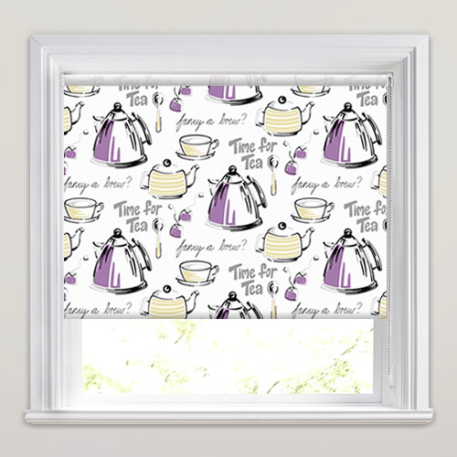 Tea Patterned Kitchen Roller Blinds In Lilac, Grey, Black