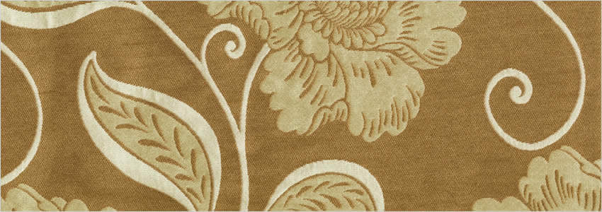Flowers Leaves Silver Creamy White Brown Elizabethan Curtains