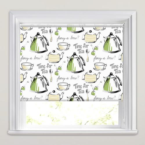 Kitchen Roller Blinds Lime Green Grey Beige White Tea Patterned