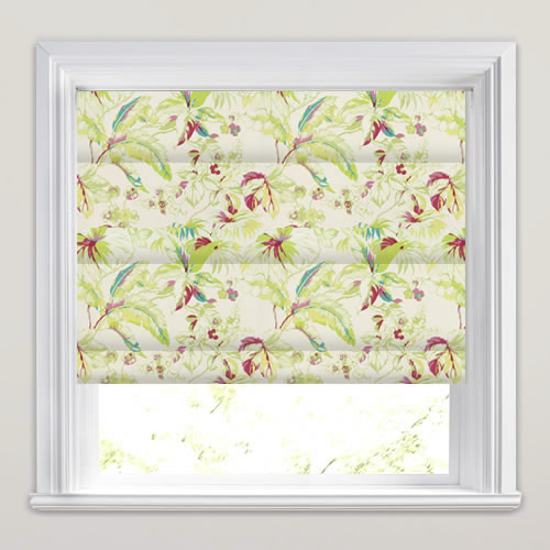 Lime Green Kitchen Blinds: Tropical Lime Green, Red, Pink & White Floral Patterned