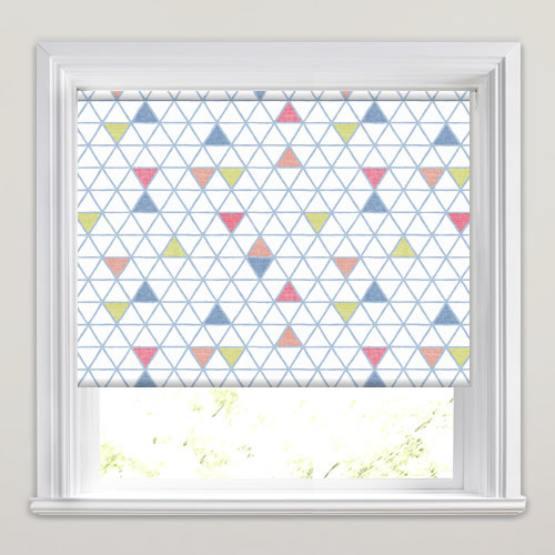 Blue Lime Green Red Amp Whitetriangles Patterned Roller Blinds