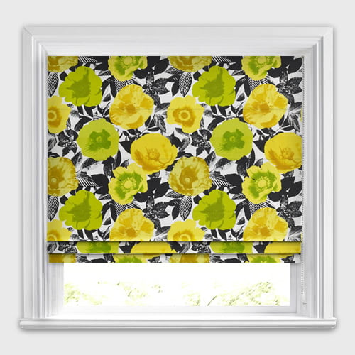 Pop Art Floral Patterned Roman Blinds Lime Green Yellow