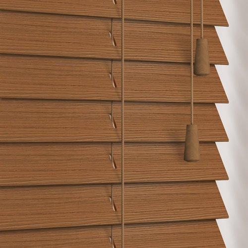 Warm Oak Faux Wood Venetian Blinds 35mm Made To Measure
