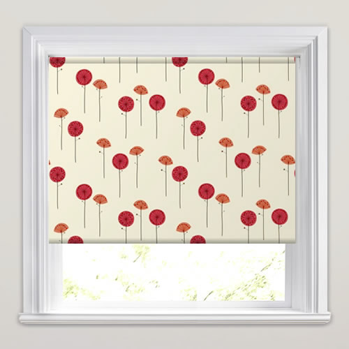 Contemporary White Orange Amp Red Poppy Patterned Roller Blinds