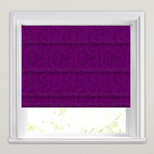 Vibrant Plum Purple Or Violet Damask Patterned Roman Blinds