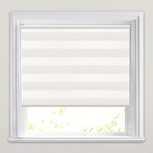 White Kitchen Roller Blinds: Metallic Silvery White Broad Striped Blackout Roller Blinds