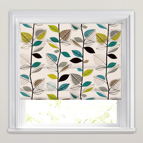 Autumn Leaves Teal Roman Blind