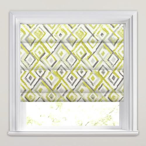 Mustard Yellow Grey Amp White Diamond Patterned Roman Blinds