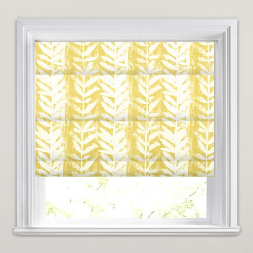 Beautiful Mustard Yellow Amp White Fern Patterned Roman Blinds