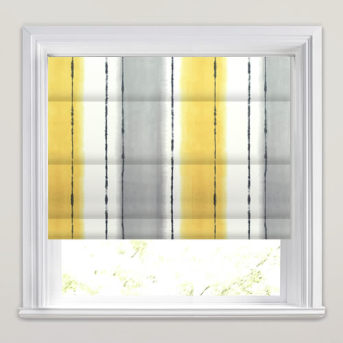 Rich Mustard Yellow Grey Amp White Broad Striped Roman Blinds