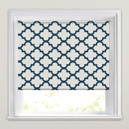 Luxury Cream Amp Navy Blue Traditional Patterned Roller Blinds