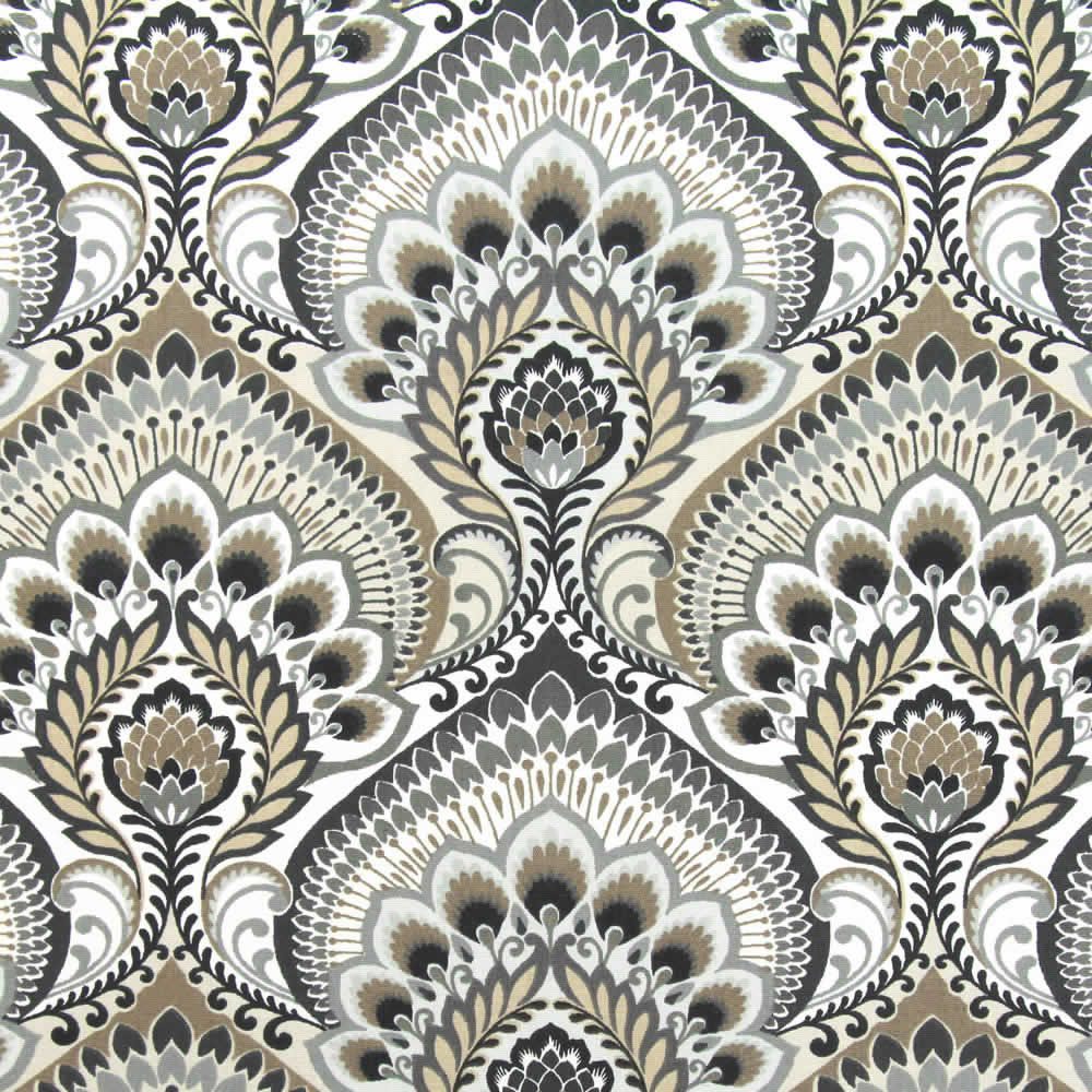 Retro Grey Beige Black White Paisley Patterned Roman Blinds