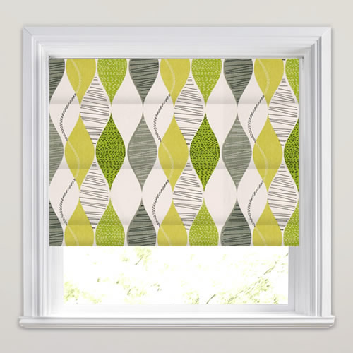 Patterned Roman Blinds Grey White Olive Amp Vibrant Lime