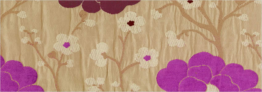 Flowers Patterned Burgundy Cream Silver Vibrant Lilac Curtains