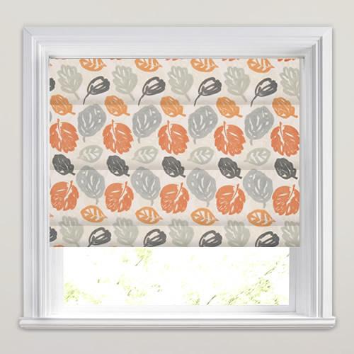 Bright Orange Grey Amp White Modern Leaves Patterned Roman