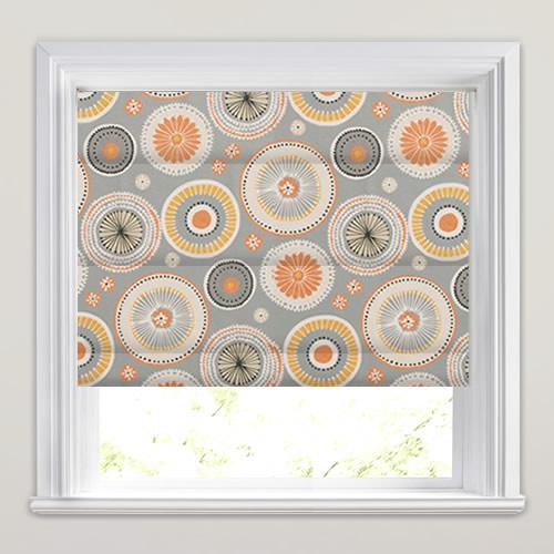Orange Yellow Cream Beige Amp Grey Circle Patterned Roman