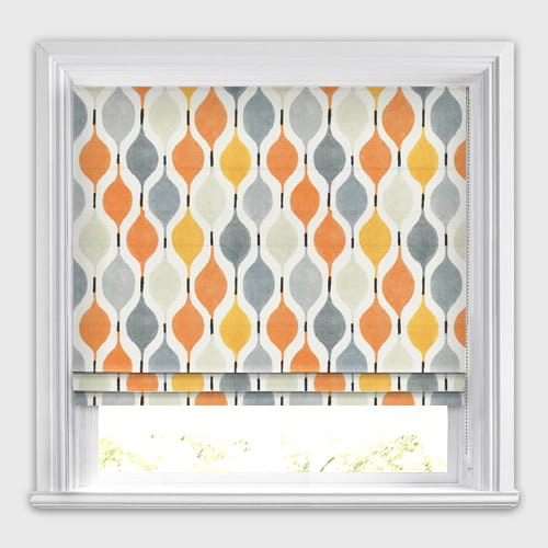 Orange Grey Stone Amp White Funky Patterned Roman Blinds