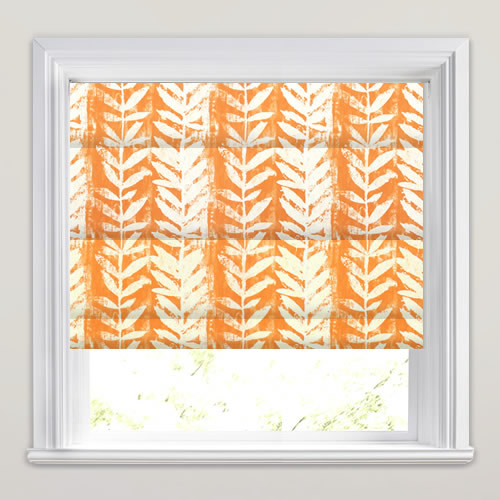 Striking Bright Orange Amp White Fern Patterned Roman Blinds