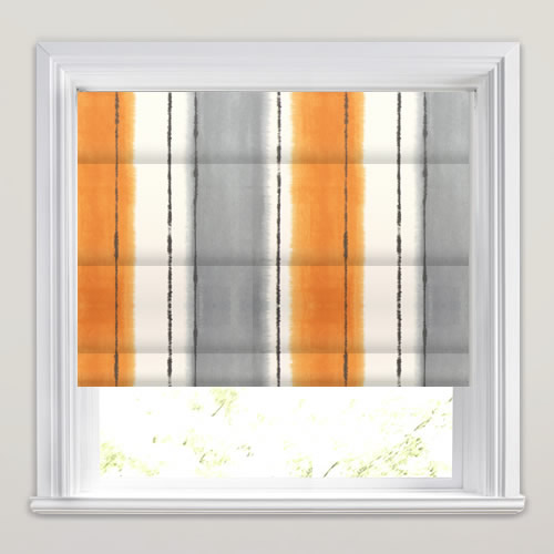 Vibrant Citrus Orange Grey Amp White Broad Striped Roman Blinds