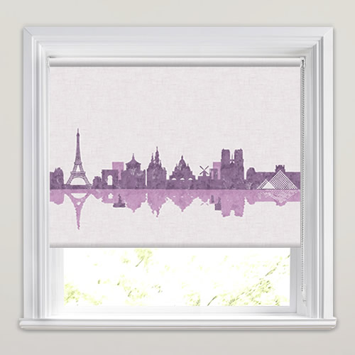 Paris Skyline Patterned Roller Blinds In Purple Lilac Amp Cream
