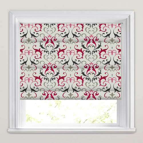Embroidered Hot Pink Silver Charcoal Damask Patterned Roman Blinds