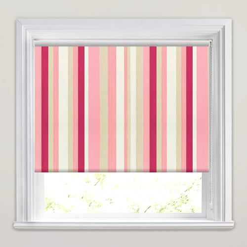 Kids Striped Blackout Bedroom Roller Blinds In Pink, Red