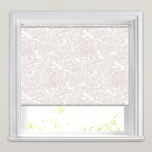 White Kitchen Roller Blinds: Caldwell Seashell Printed Roller Blinds