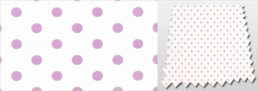 Polka Dots Patterned White Amp Lilac Blackout Childrens Curtains