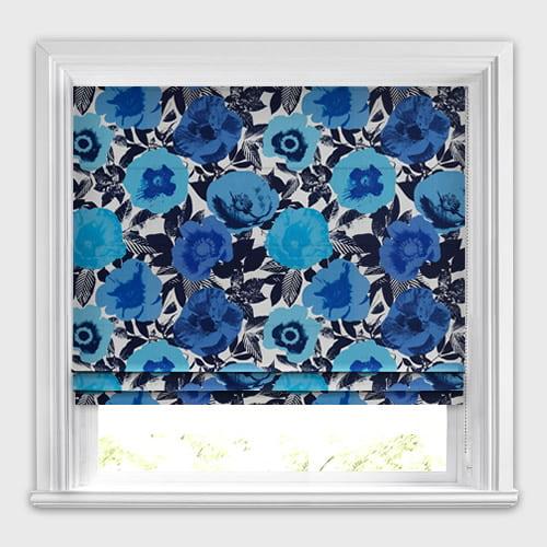 Luxury Blue Pop Art Flowers Patterned Roman Blinds Sky