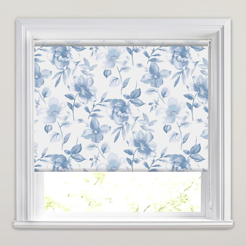 Luxury Large Floral Patterned Roller Blinds In Blue & White