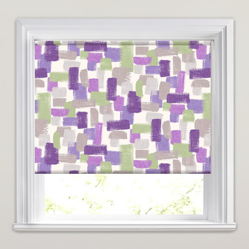 Purple Roller Shades : Impressionist brushstrokes roller blinds in purple lilac