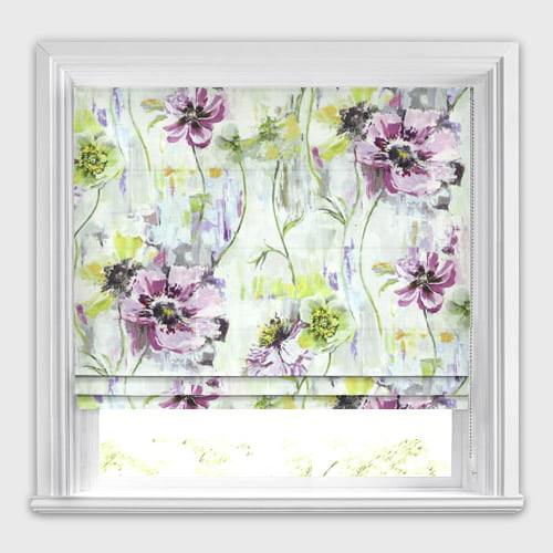 Traditional Large Impressionist Flowers Patterned Roman Blinds