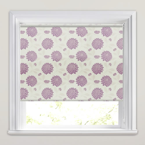 Mulberry Purple Flower Head Patterned Roller Blinds