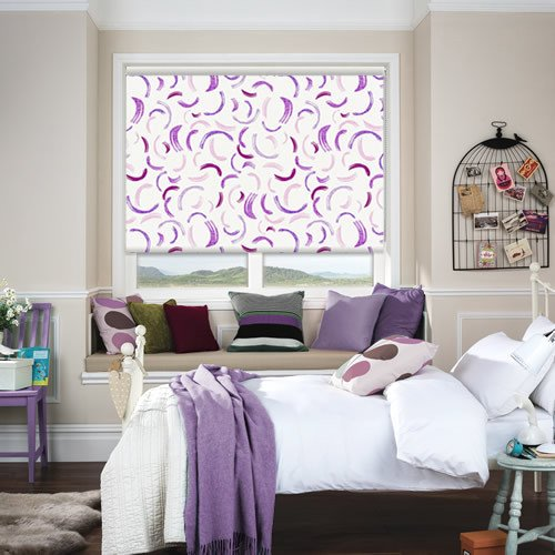 Purple Brushstrokes Kids Blackout Bedroom Roller Blinds Inspiration Blackout Bedroom Blinds