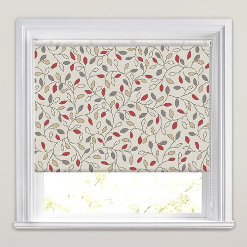 Pretty Leaves Patterned Roller Blinds In Red Grey Amp Beige