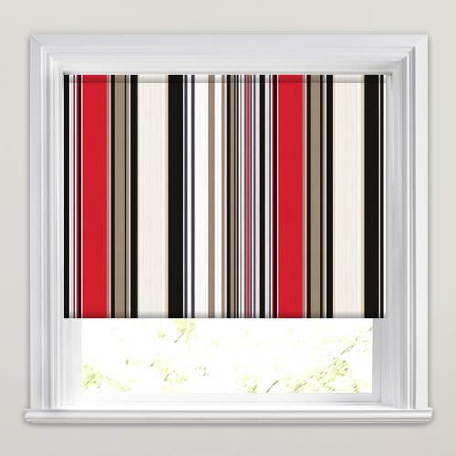 Vibrant Red, Black Beige & Cream Striped Roller Blinds